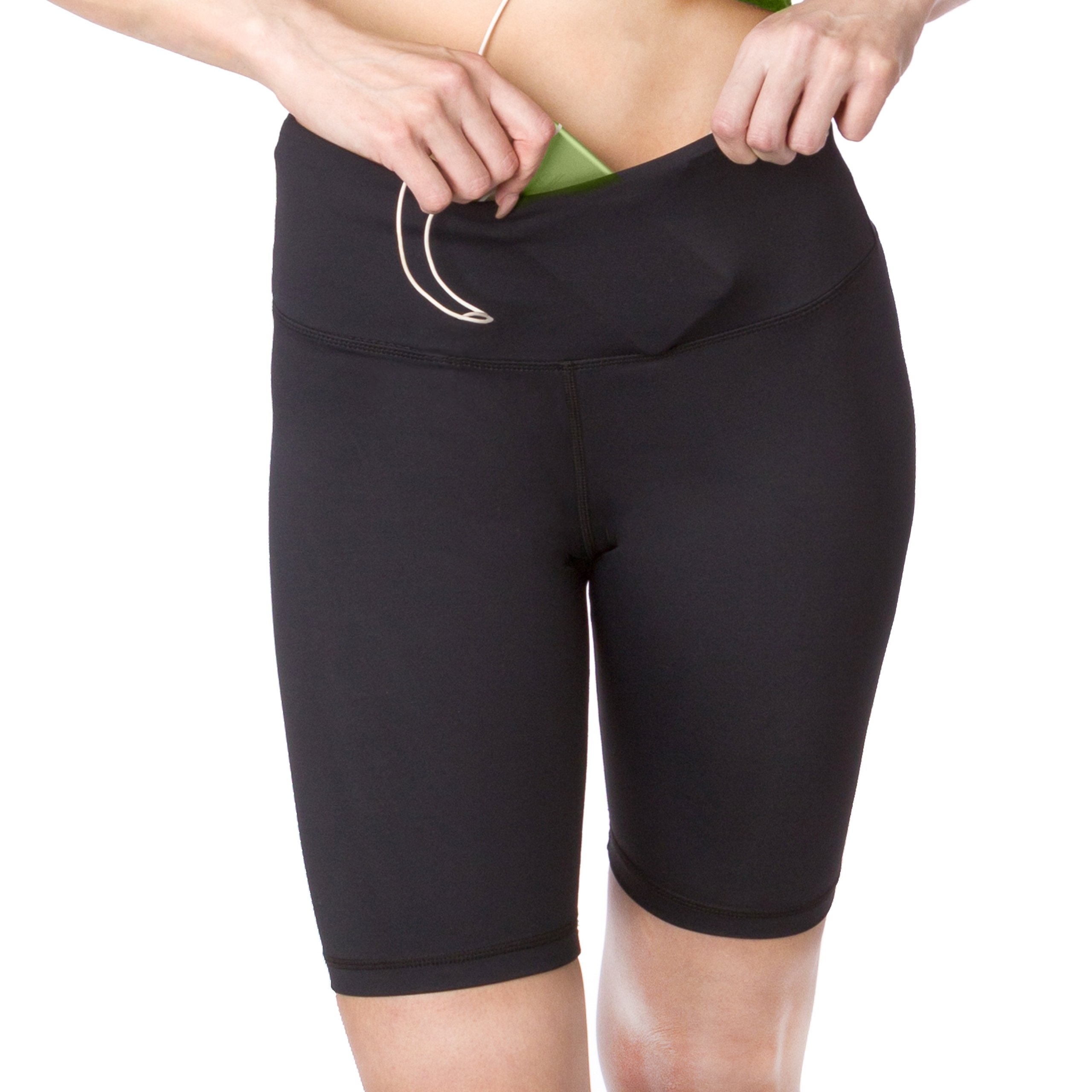 Leggings Shorts Active Long Shorts, Women's Workout Bike Running Shorts with Pockets and Tummy Control