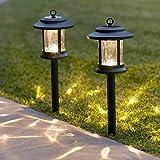 Lot de 2 Lanternes Solaires en Verre avec LED Blanc Chaud sur Pique pour Jardin par Lights4fun