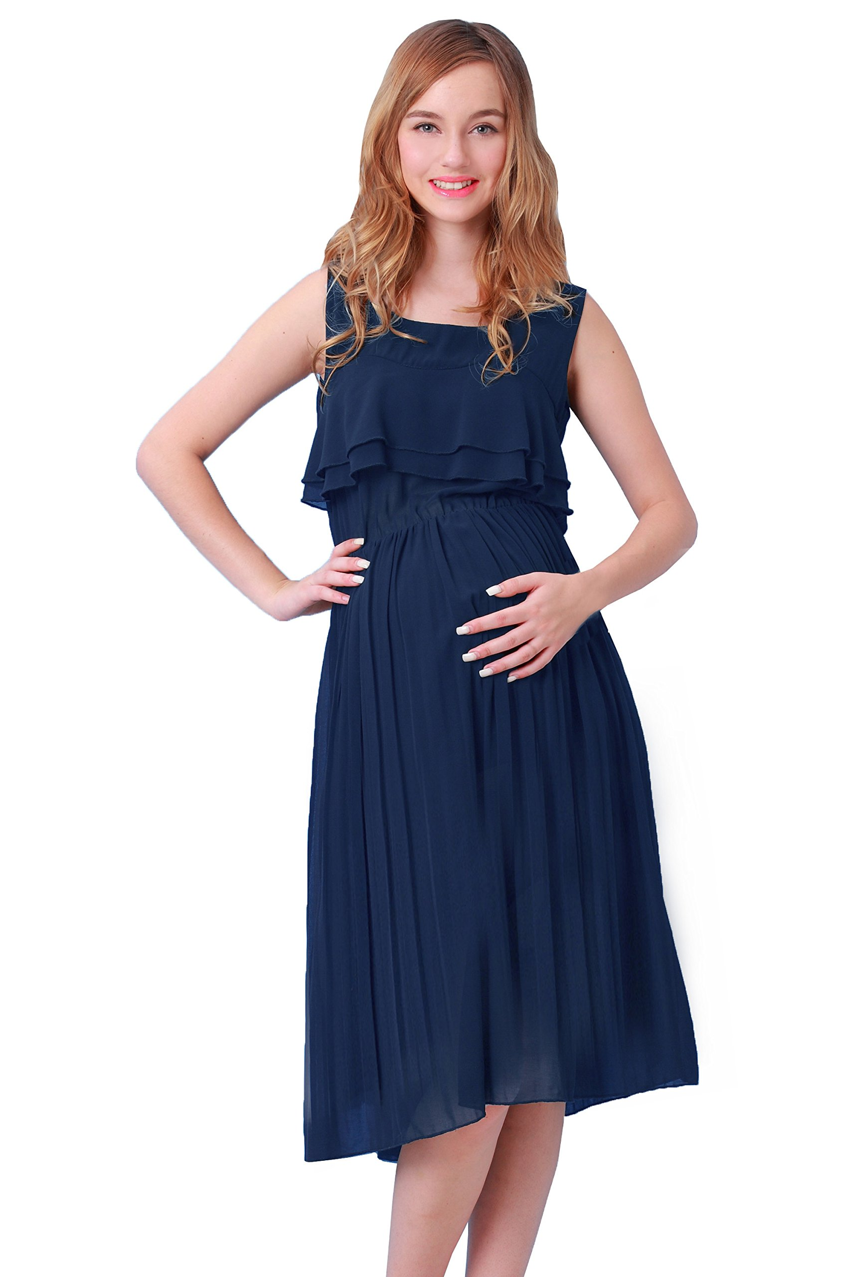 Sweet Mommy Tiered Frill Chiffon Maternity and Nursing Long Dress Navy, M