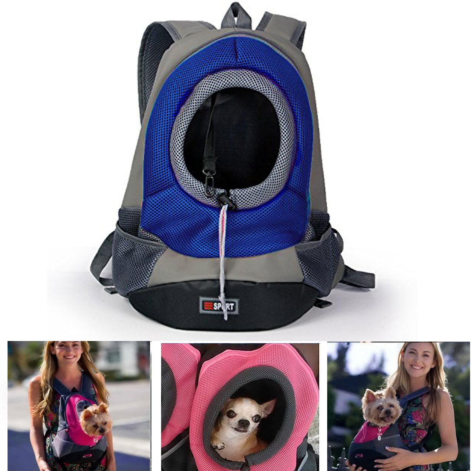 Pet Carrier ,Pashion Breathable Double Shoulder Dog Pet Puppy Bags Backpack Knapsack Cat Carrier Packsack Travelling Pet Holder Bag for Biking, Hiking, Trip, Shopping Pashion Direct