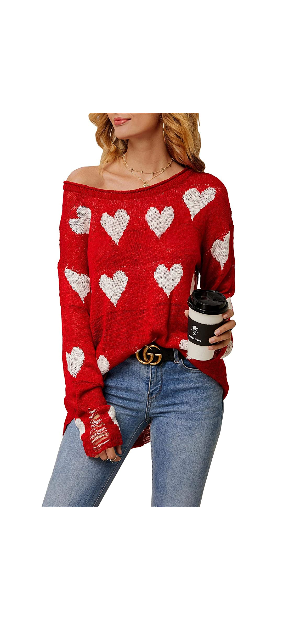 Women Off Shoulder Knitted Pullovers Sweater Loose