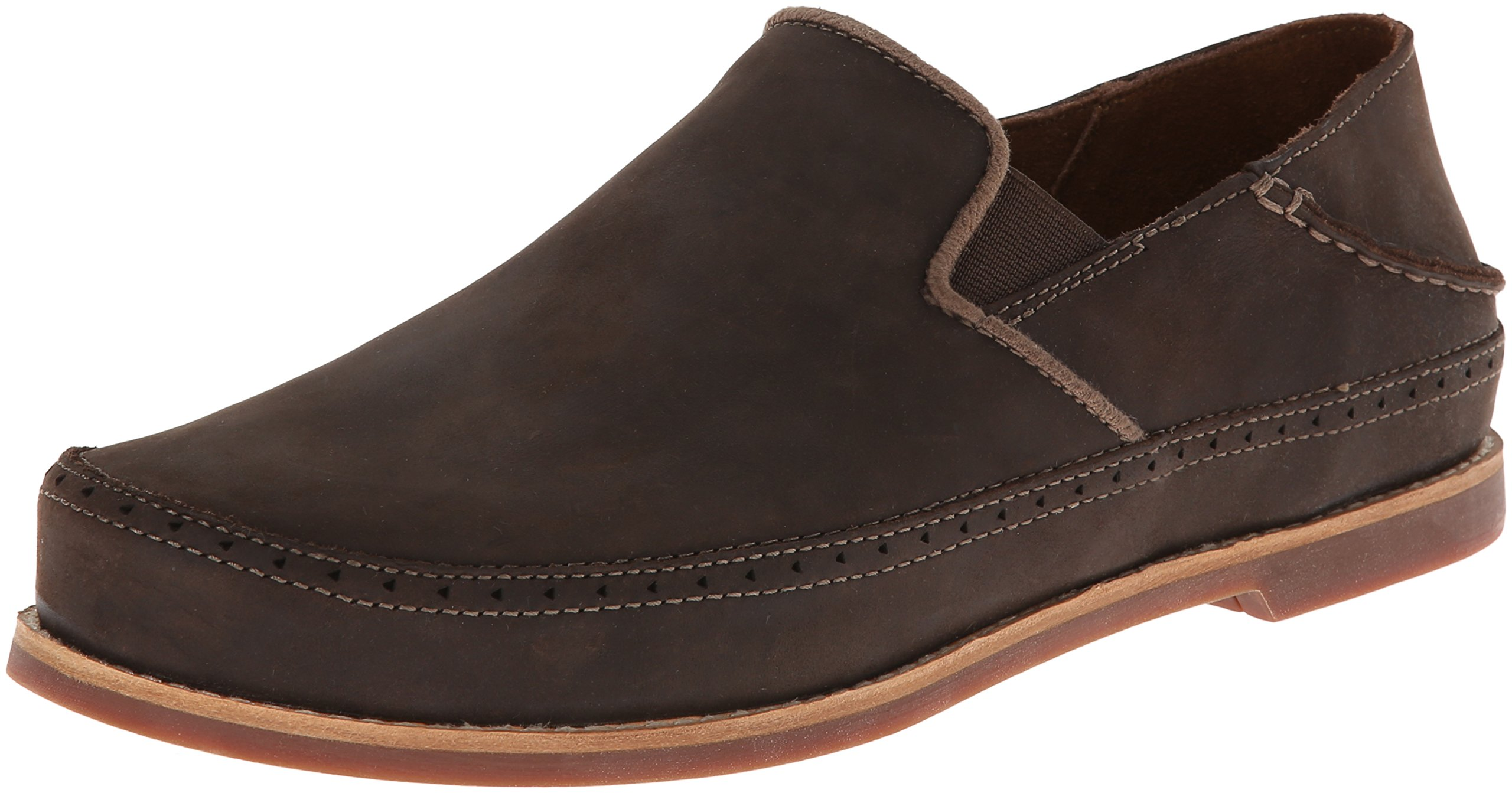 OluKai Men's Honolulu Slip-On Dark Wood/Mustang Loafer 11 D - Medium