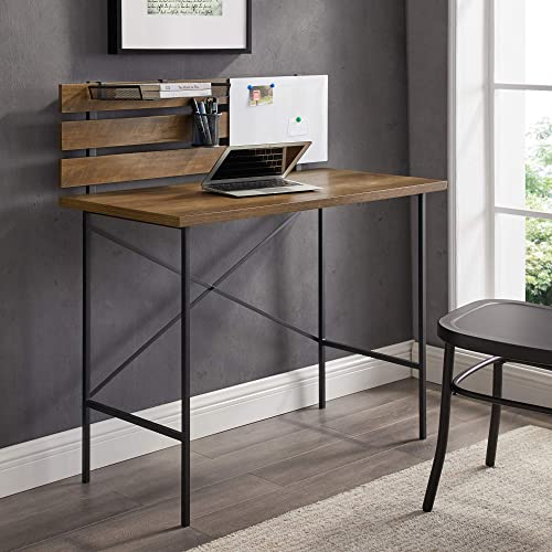 Walker Edison Furniture Company Small Slatted Wood Laptop Computer Writing Desk Home Office Workstation, 42 Inch, Reclaimed Barnwood Brown