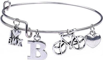 fishhook I Love de Estilo Libre BMX Bicicleta de Palabras corazón Letra B Colgante de Acero Inoxidable DIY Pulsera: Amazon.es: Joyería