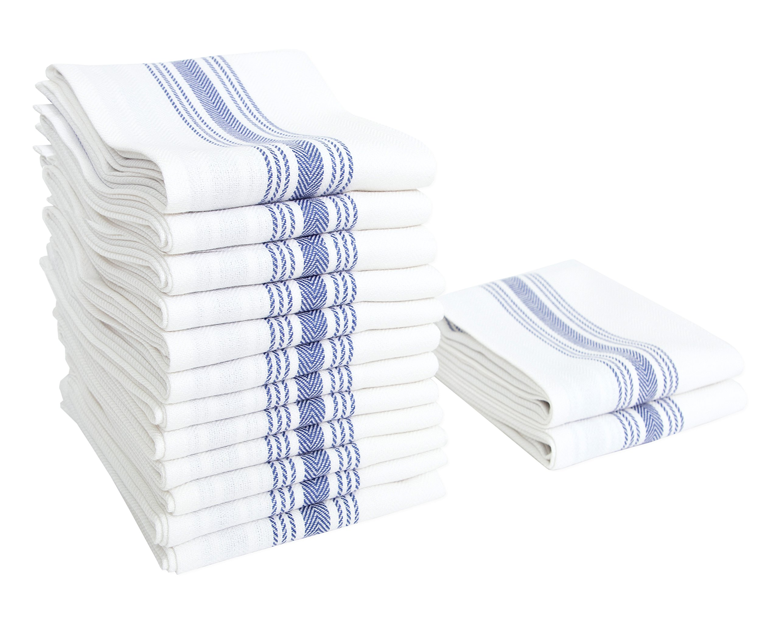 Value Basics Herringbone Stripe Kitchen Towel Set, 15'' x 25'', 14-Pack, Blue & White