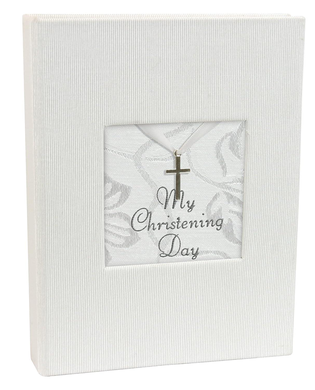 Stephan Baby Inspirational Keepsake Mini Photo Album with Silver Cross, My Christening Day 387404
