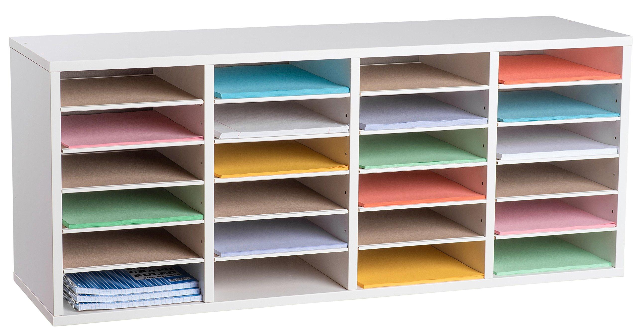 AdirOffice Wood Adjustable Literature Organizer (24 Compartment, White)