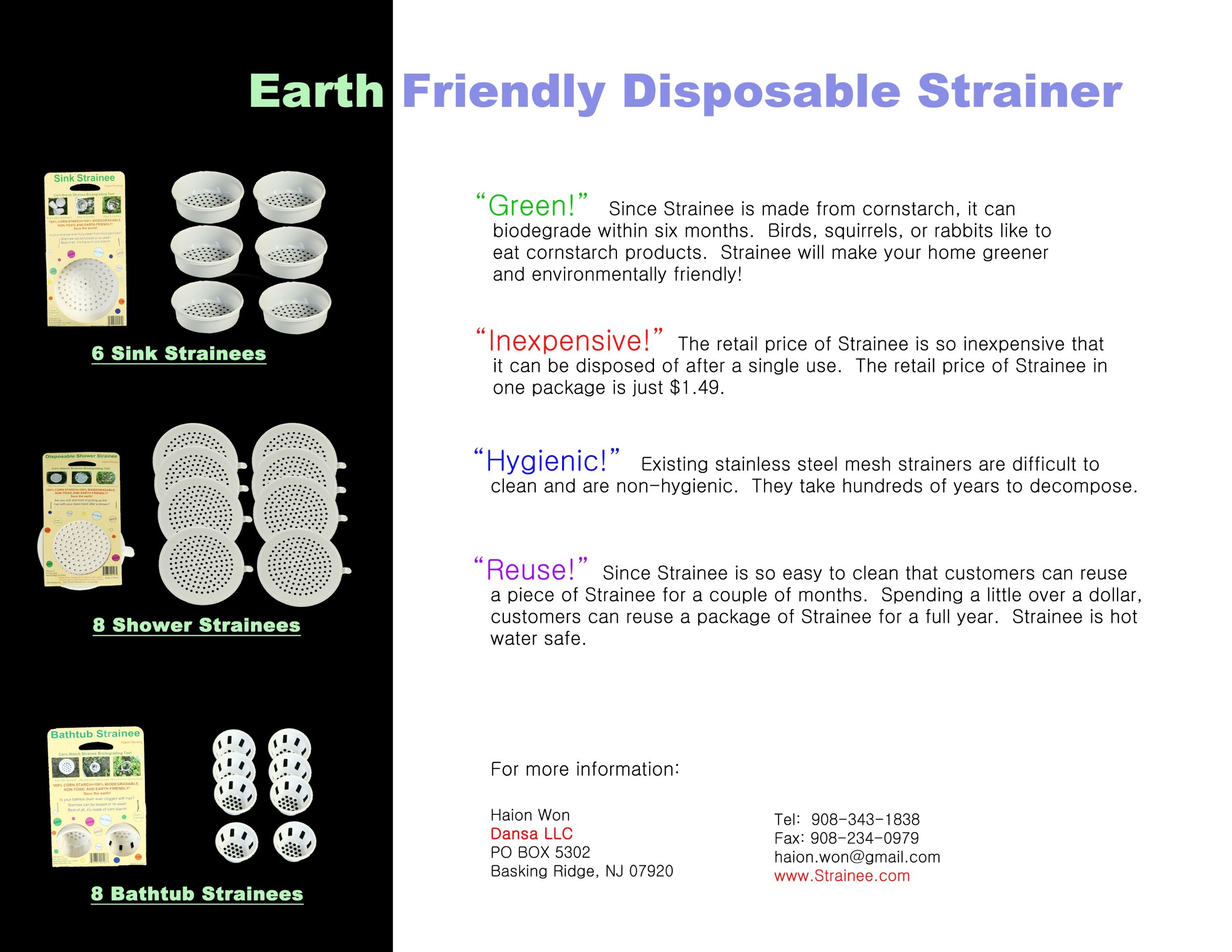 Shower Strainee 8 Pack Sink Strainer. 100% Corn Starch Means 100% Biodegradable, Non Toxic and Earth Friendly.