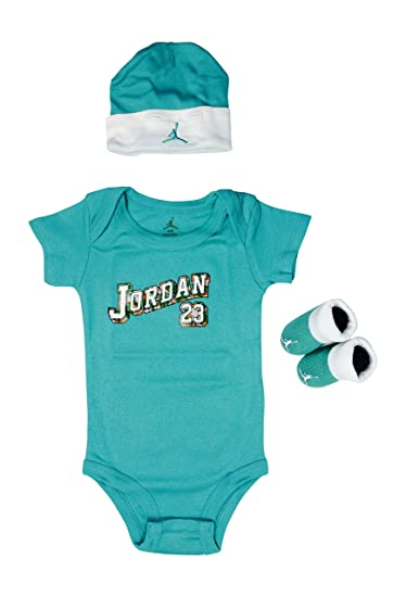 1313a3ab01b1 Image Unavailable. Image not available for. Color  Jordan Baby Clothes 3- piece Set quot  Teal Jordan 23  quot  Size 0-