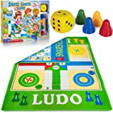 """Ludo and Snakes & Ladders Board Game - 51x37"""" Giant Playing Mat, Weatherproof-Plastic Material, Two-Sided, 2-in-1, Learning D"""
