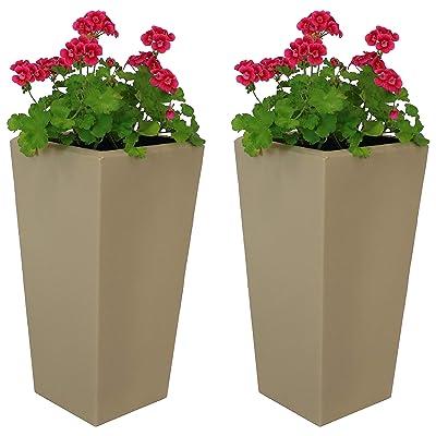 Sunnydaze Meghan Outdoor/Indoor Planter Pot, Heavy-Duty Double-Walled Polyresin with UV-Resistant Desert Finish, Set of 2, 11-Inch : Garden & Outdoor
