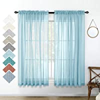 Aqua Blue Curtains 45 Inch Length for Kitchen Set of 2 Panels Rod Pocket Linen Look Beach Decor Airy Flowy Lightweight…