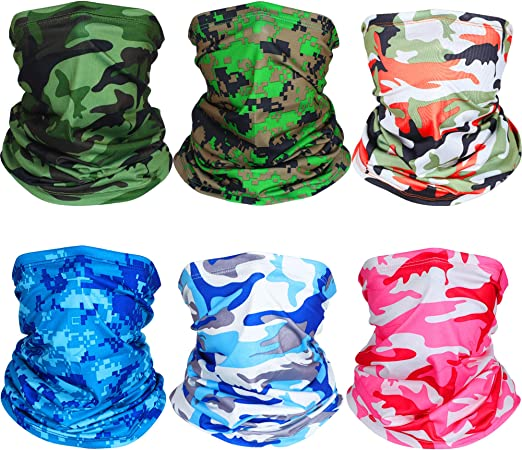 BESPORTBLE 6pcs Solid Color Magic Headband Neck Gaiter Bandana Windproof Sport Headwear Protective Face Shield Cover for Outdoor Riding Runing Hiking Cycling Mixed Color