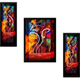 SAF UV Textured Ganesh Modern Art Print Framed Painting Set of 3 for Home Decoration – Size 35 x 2 x 50 cm
