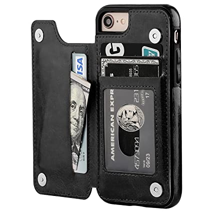 cheap for discount d6774 e9727 iPhone 8 Wallet Case with Card Holder,OT ONETOP iPhone 7 Case Wallet  Premium PU Leather Kickstand Card Slots,Double Magnetic Clasp and Durable  ...