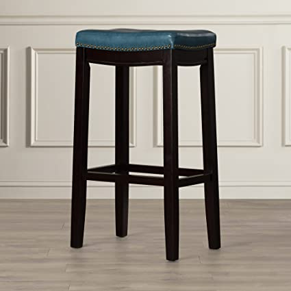 Super Three Posts Russett 32 Upholstered Cushion Bar Stool With Nailheads Accent 1 Blue Caraccident5 Cool Chair Designs And Ideas Caraccident5Info