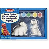 Melissa & Doug Decora tus propias figuritas de dinosaurios, juego de arte todo-incluido, listo para decorar, 6 potes de pintura y pinceles, 20.066 cm alto × 13.208 cm ancho × 6.35 cm largo