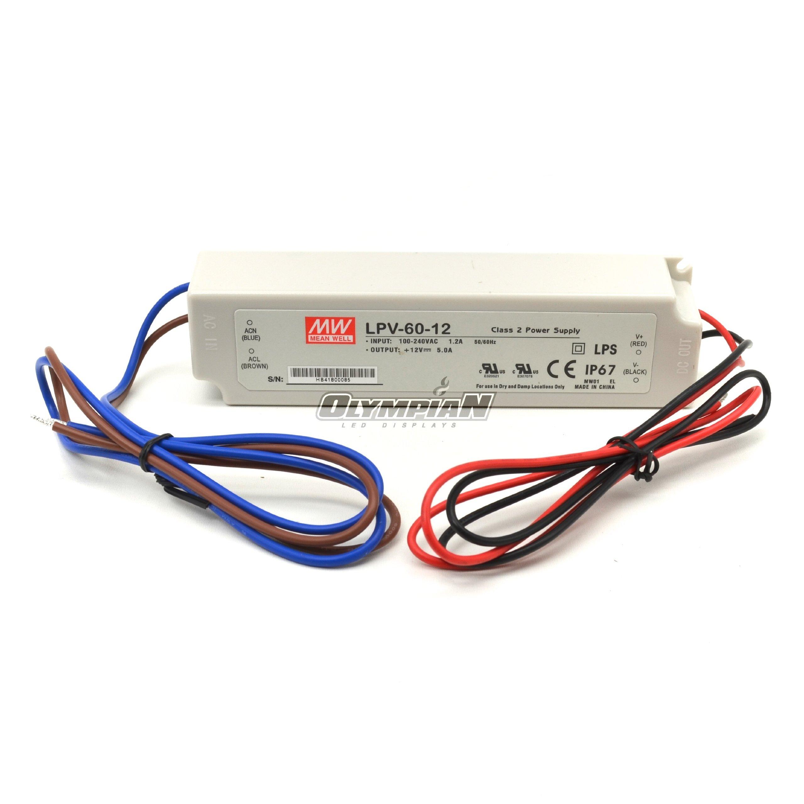 MEAN WELL LPV-60-24 LED DRIVER, AC-DC, CV, 24V, 60W