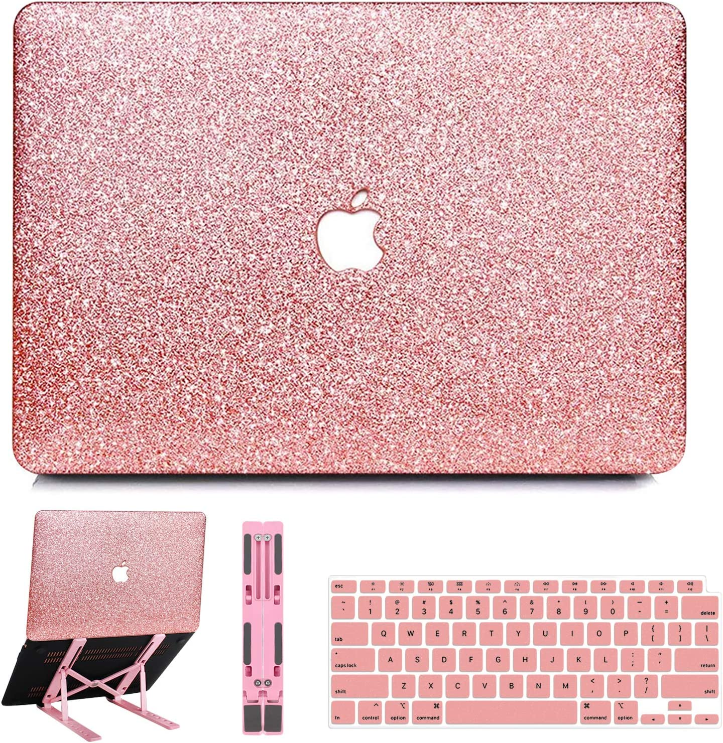 B BELK MacBook Air 13 inch Case 2020 2019 2018 Release M1 A2337 A2179 A1932 with Touch ID, Sparkly Leather Hard Shell Case with Keyboard Cover + Pink Laptop Stand, Apple MacBook Air 2020 Case Retina