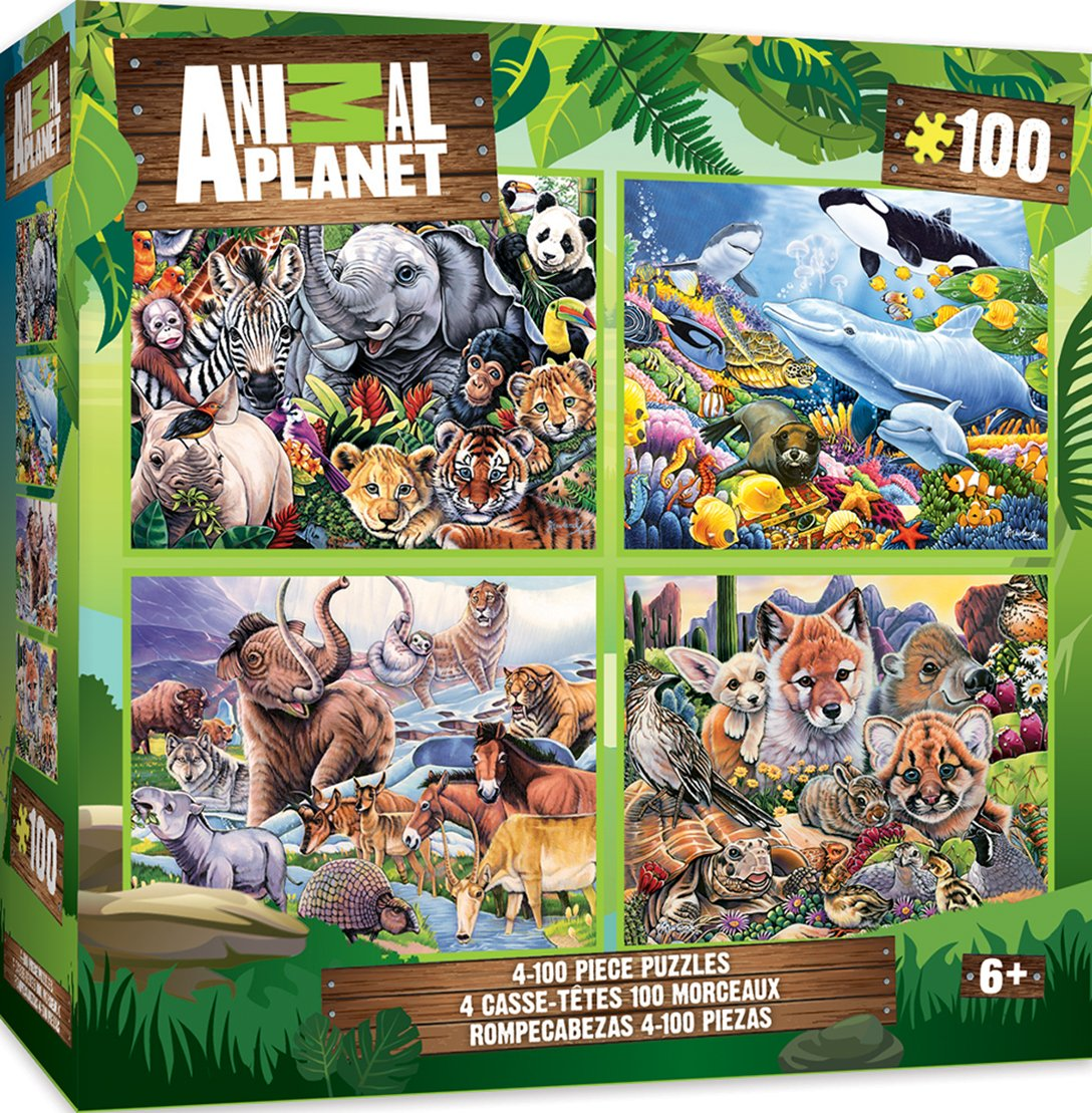 MasterPieces Animal Planet 4-pack Multipack 100 Piece Puzzles