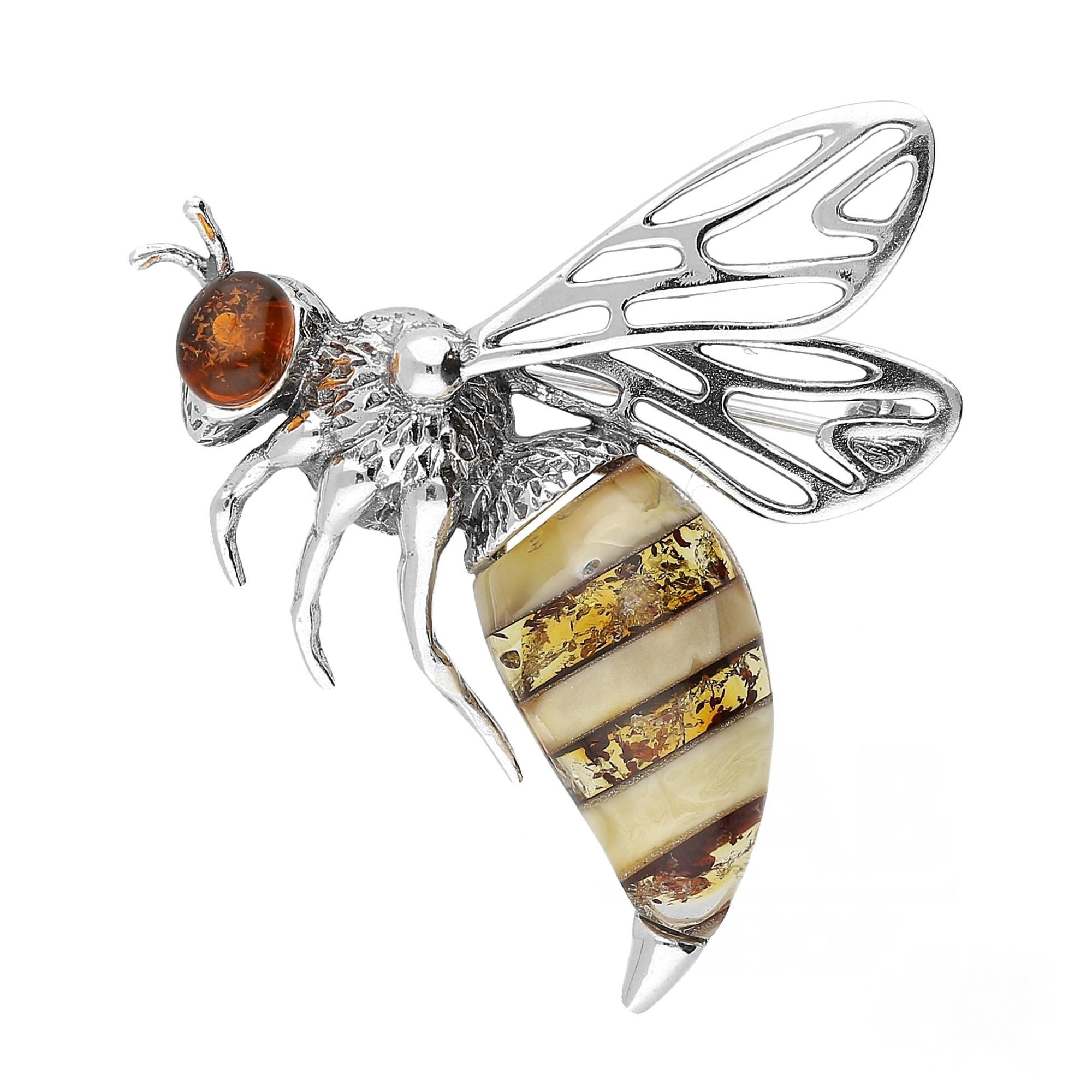 BALTIC AMBER STERLING SILVER 925 JEWELRY BEE BROOCH/PIN, KAB-166