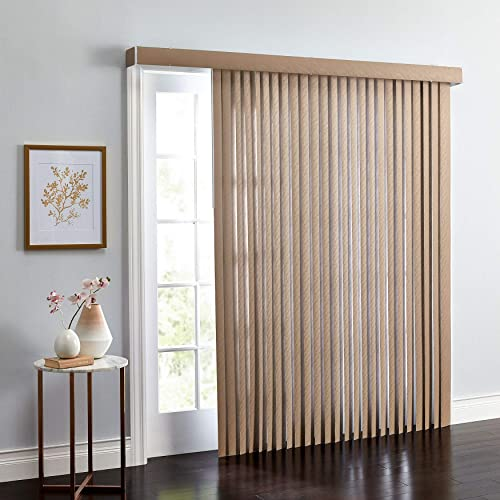 BrylaneHome Embossed Vertical Blinds 3.5 Inch Slats Window Privacy Reversible