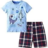 HMBEIXYP Toddler Boys Summer Shirt and Pants Set Cotton Short Sleeve Clothing Outfit Set