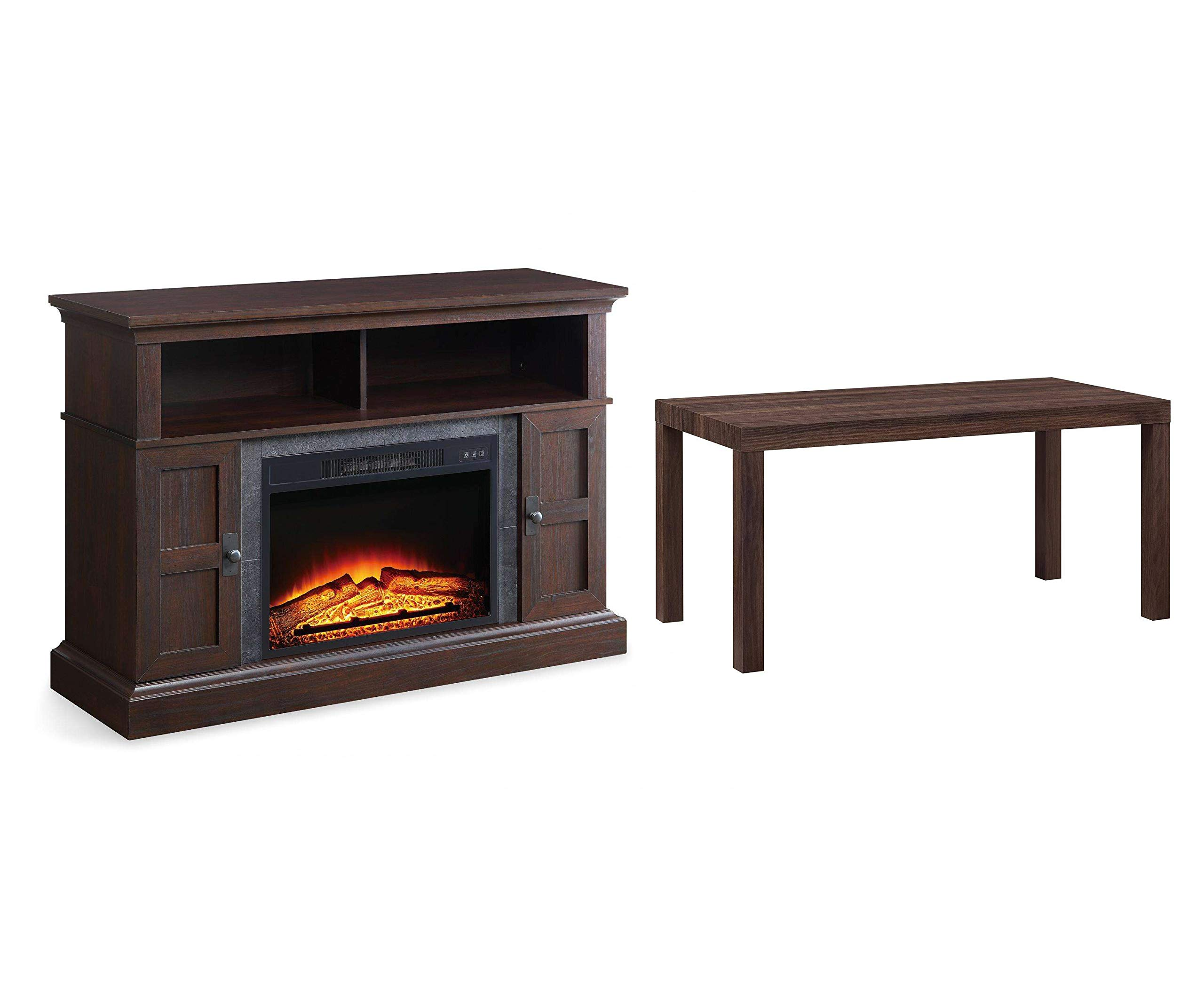 Whalen Furniture Media Fireplace and TV Console Combo, Cherry Bundle with Mainstays Parsons Coffee Table, Lightweight, Canyon Walnut by Whalen Furniture + Mainstays
