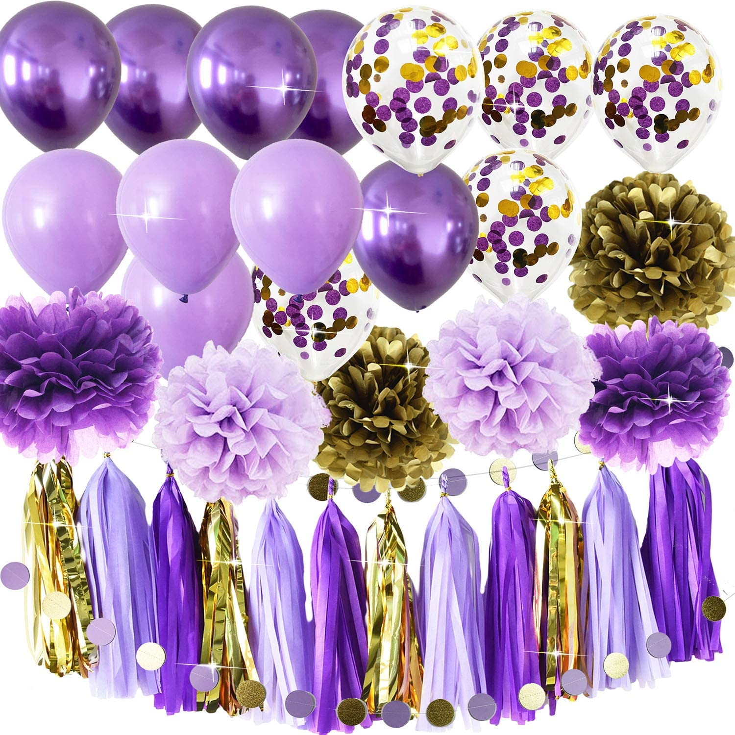 Qian's Party Purple Gold Birthday Party Decorations Tissue Paper Pom Pom Purple Gold Confetti Ballons Birthday Decorations Purple Bridal Shower Decorations (Purple Gold Confetti)