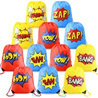 Superhero-Party-Supplies-Favor-Bags-Drawstring Backpack 12 Pack Cinch Bag Bulk for Kids Girls Boys Birthday Gifts Yellow…