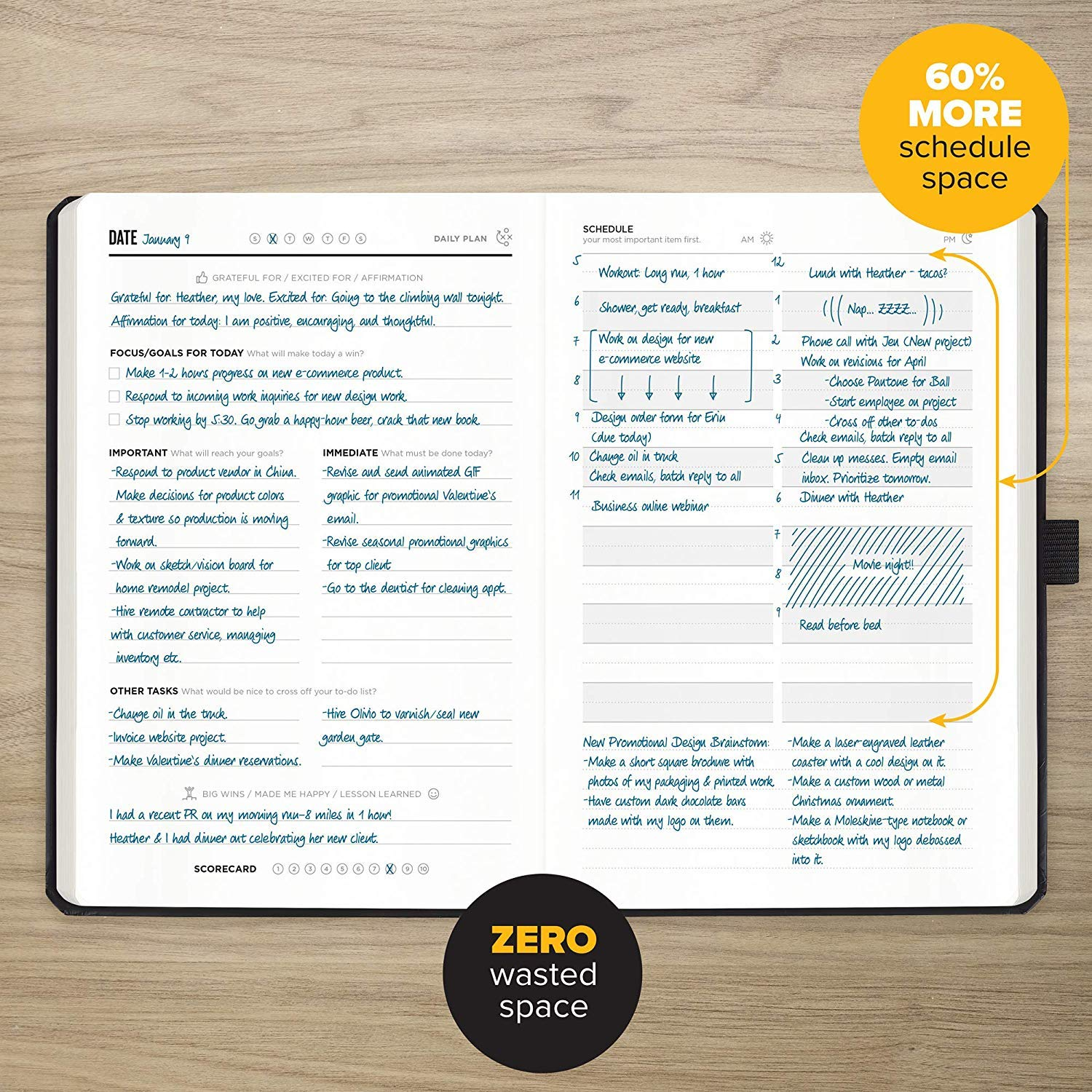 Undated Productivity Journal, 13 Week Planner for Goal Setting Plus 31 Daily Pages, 8.3