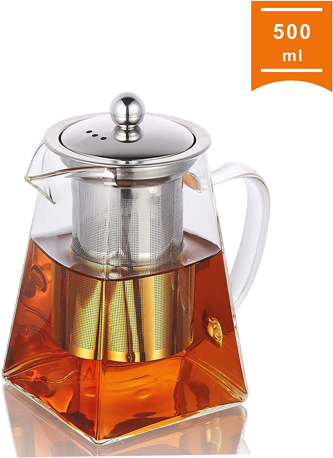 Glass Teapot with Infuser, 500 ml/16.9oz Clear High Borosilicate Glass Tea Pot with Removable Tea Strainers for Loose Leaf Tea, Heat Resistant Loose Leaf Teapot, Microwavable and Stovetop Safe