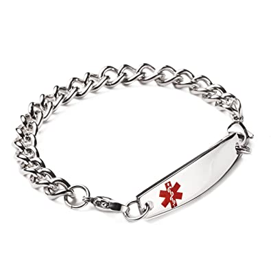 linnalove-Stainless Steel Interchangeable Medical Alert Bracelets-Free  Engraving