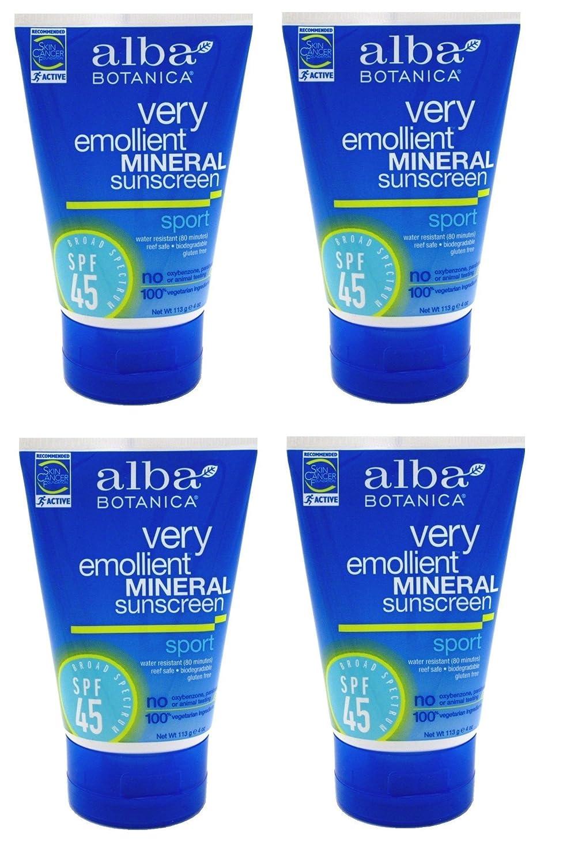 Alba Botanica Sunscreen - Sport Mineral SPF 45 - 4 oz (4 Pack) + FREE Old Spice Deadlock Spiking Glue, Travel Size, .84 Oz