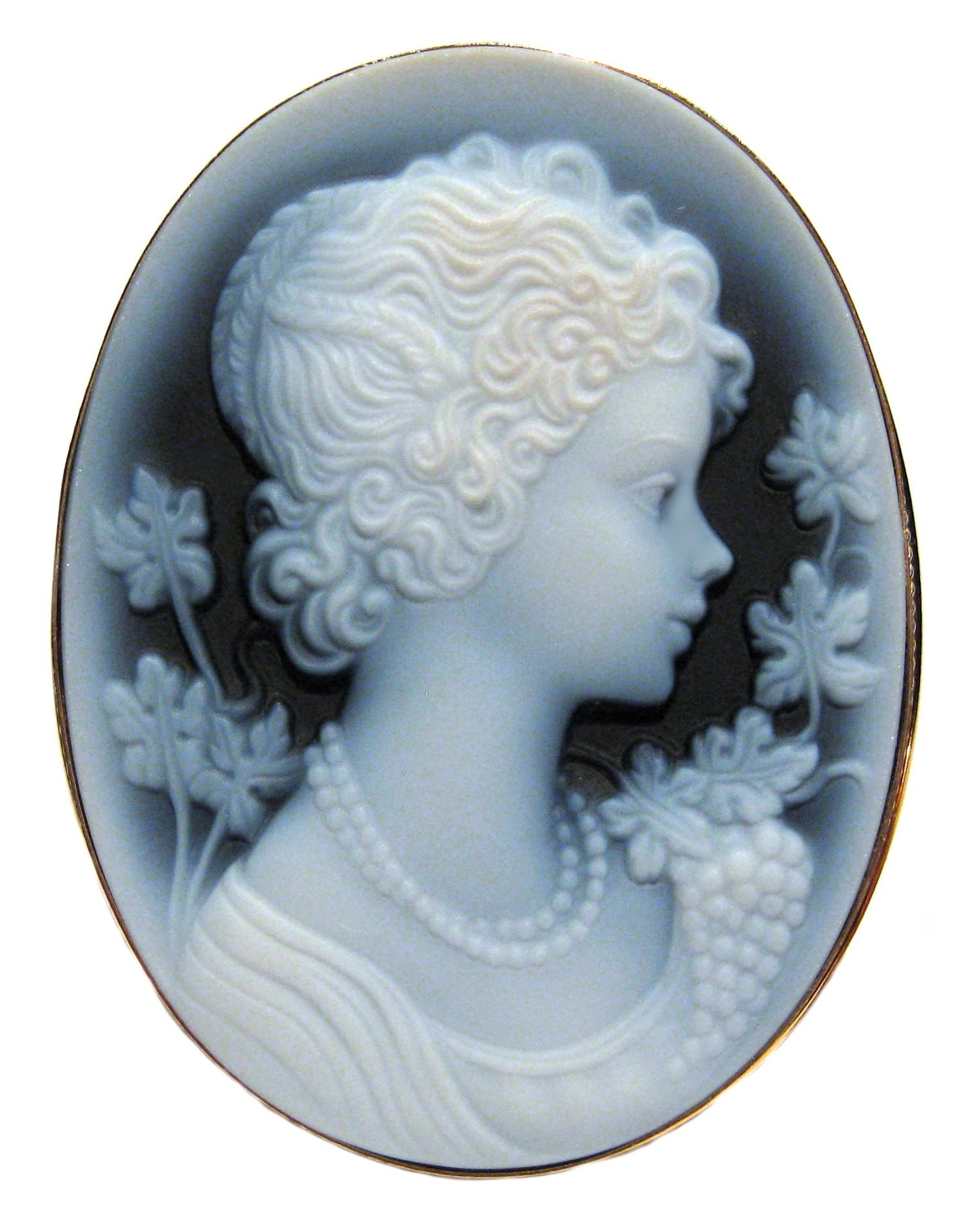 Summer Dream, Cameo Pin Pendant Genuine Agate Stone Laser Carved Italian Sterling Silver 18k Gold Overlay