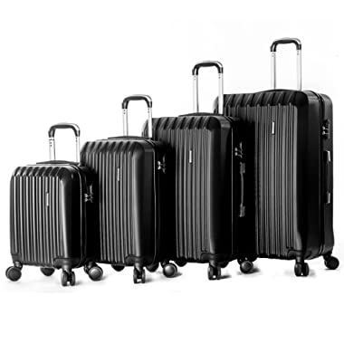 4 Pieces Luggage Set Hardside Spinner Luggage ABS Light Travel Case -16  20  24  28