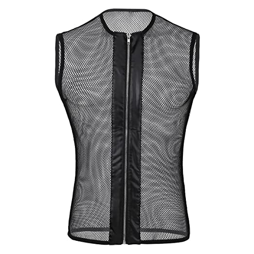 2b4f2cb3ea115 iEFiEL Mens Sleeveless Fishnet See-Through Zipper Muscle Tank Top T-Shirt  Clubwear Black