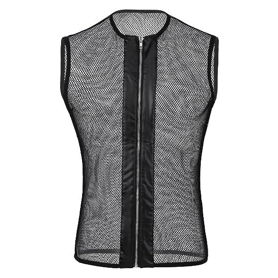 YIZYIF Ropa interior sexy Hombre Chalecos Eróticos Camisetas interiores sin manga de malla Negra Negro S