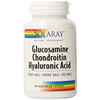 Solaray Glucosamine Chondroitin and Hyaluronic Acid, 1500mg/1000mg/20mg | 90 Capsules