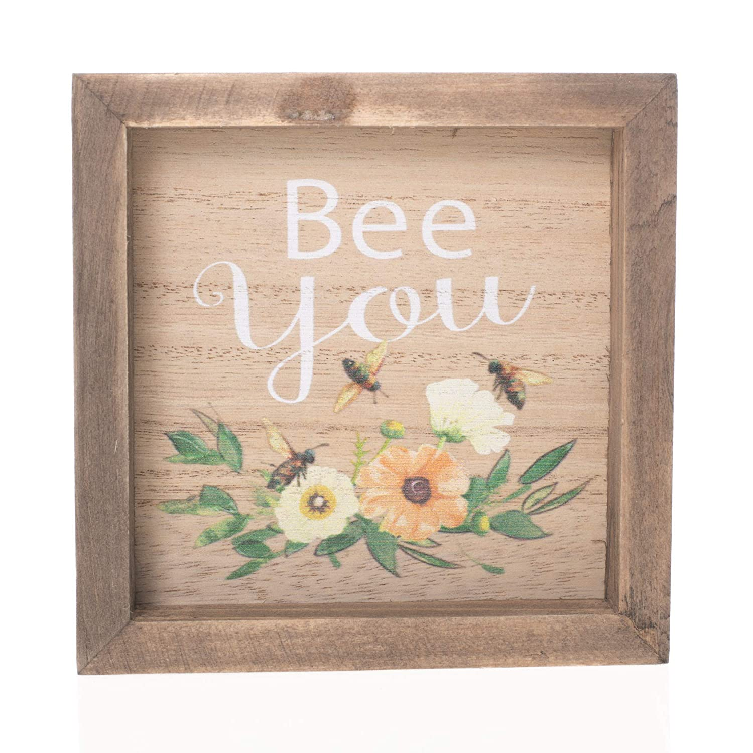 Dicksons Bee You Honey Bees and Flowers Rustic 5 x 5 Wood Tabletop Plaque