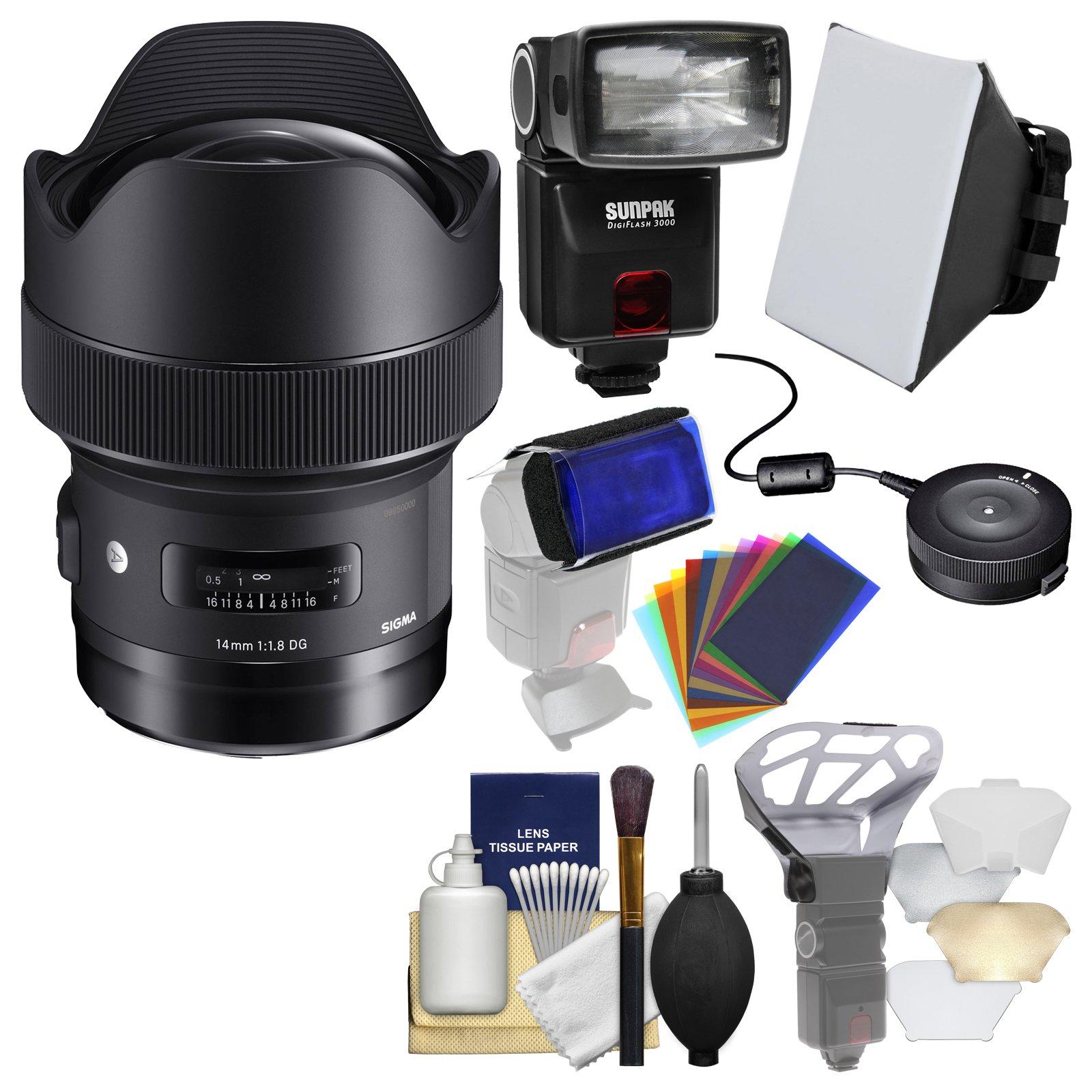 Sigma 14mm f/1.8 ART DG HSM Lens with USB Dock + E-TTL II Flash + Soft Box + Bouncer + Flash Gels + Kit for Canon EOS Digital SLR Cameras