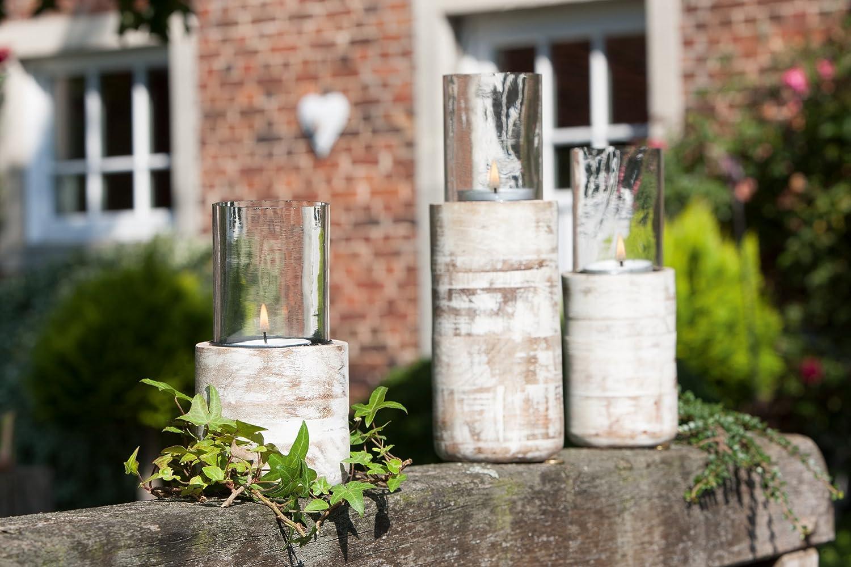 Teelichter Beleuchtung f Light 1 x Windlicht Birke Holz H/öhe 29 cm