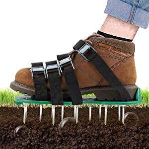 Lawn Aerator Shoes - Soil Aeration Shoes with 4 Adjustable Straps and One-Size-Fit-All & Easy Use for Garden & Yard Lawn Soil Effective Manual Lawn Aerator (Green)