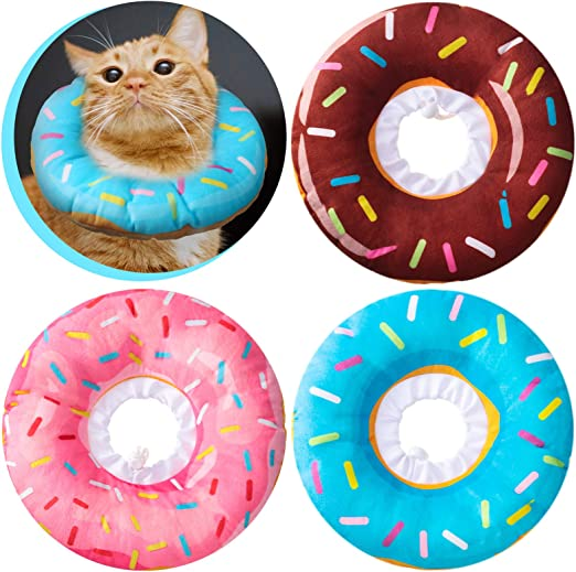 Weewooday 3 Pieces Cute Donut Recovery Collar for Cats Comfortable Neck Cone Soft Elizabeth Pet Cone Collar with Smooth Edge and Adjustable Drawstring for Cats Kittens Puppies, 3 Colors