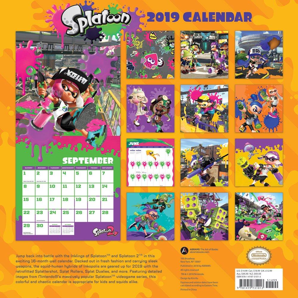 amazon splatoon 2019 wall calendar nintendo techniques
