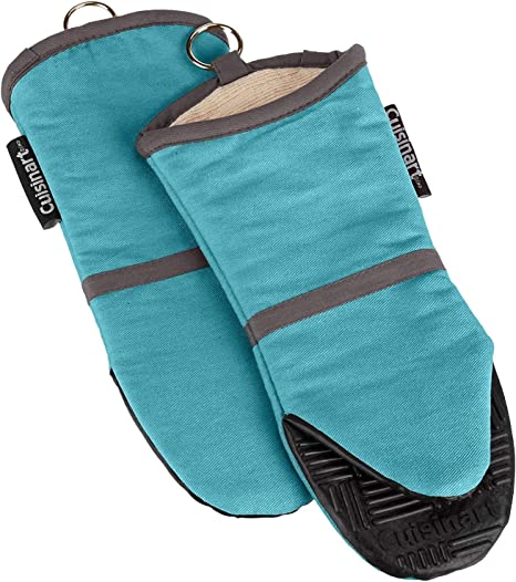 Chevron Bakeware Blue Cuisinart Oven Mitts 2pk Heat Resistant Oven Gloves to Protect Hands and Surfaces with Non-Slip Grip and Hanging Loop Ideal Set for Handling Hot Cookware