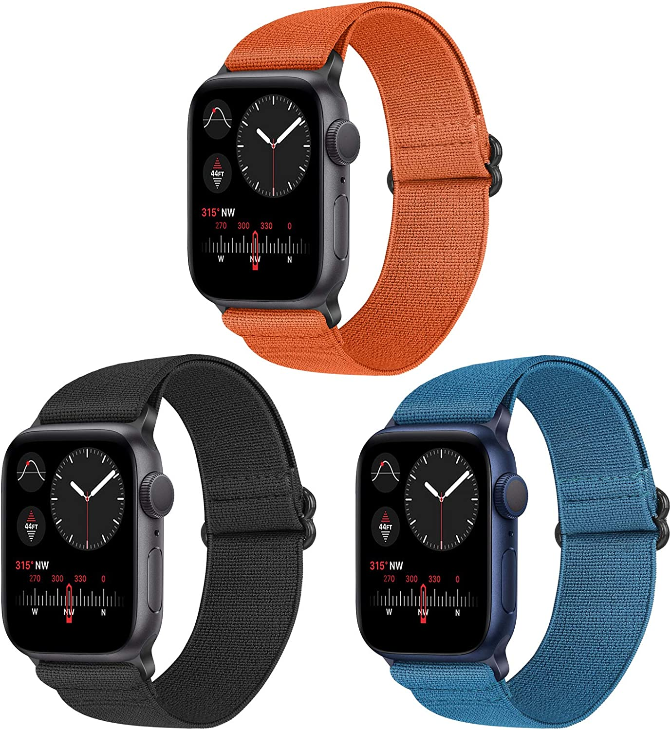 Vodtian Nylon Loop Elastic Watch Band Compatible with Apple Watch 42mm 44mm, Women Men Stretchy Adjustable Replacement Sport Straps for iWatch Series 6/5/4/3/2/1/SE (Black+Navy Blue+Orange, 42mm/44mm)