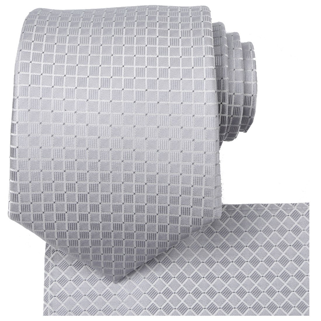 KissTies Mens Gray Solid Wedding Tie Grey Necktie + Hanky + Gift Box