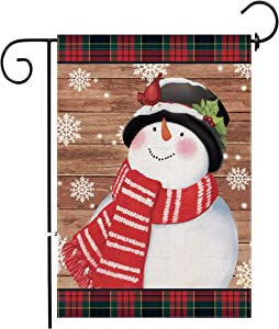 Hexagram Snowman Garden Flag,Winter Decorative Yard Flag,Double Sided Burlap Buffalo Plaid Christmas Garden Flag 12x18 Prime Snowman with Cardinals Outdoor Burlap Decorations