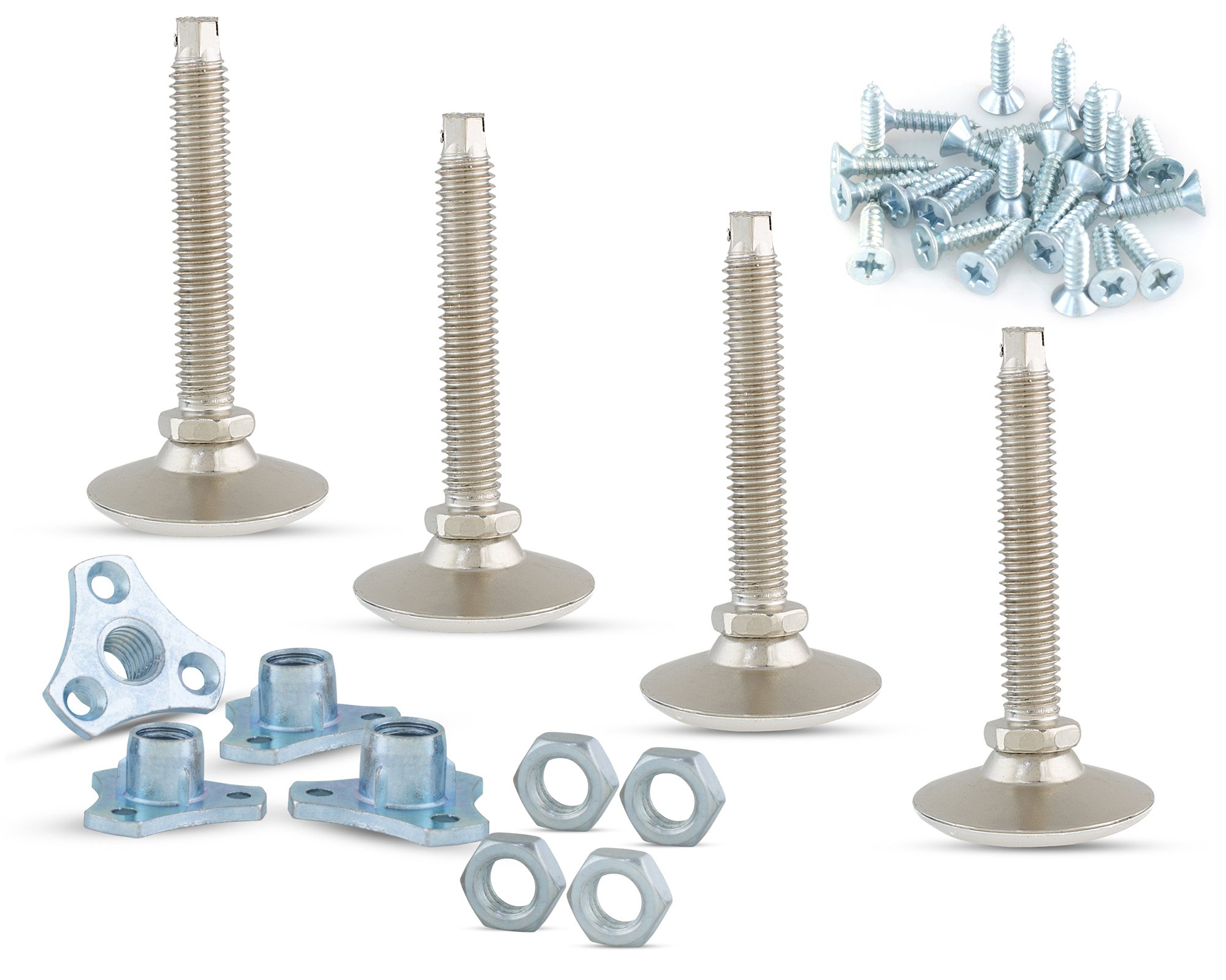 Furniture Leveler or Leg Extenders kit – 4-Pack of 3/8 Swivel Glide Leg levelers with Screw-on T-Nuts and Jam Nuts for Table or Cabinet Legs and Feet to Adjust Height